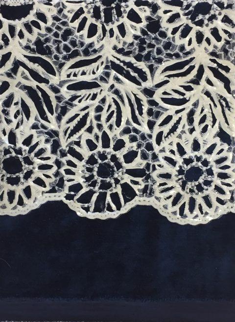 Textiles Florals, 20 x 26cm, Tablecloth & velvet on canvas, 2017