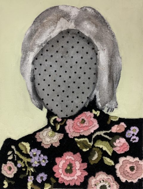 Embroideries Hiding, 30 x 40cm, Hand embroidery with wool, acrylic & fabric on canvas, 2021