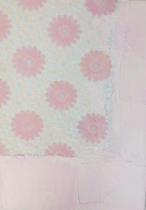 Textiles Pink Petals, 20 x 30cm, Tablecloth & acrylic on canvas, 2017