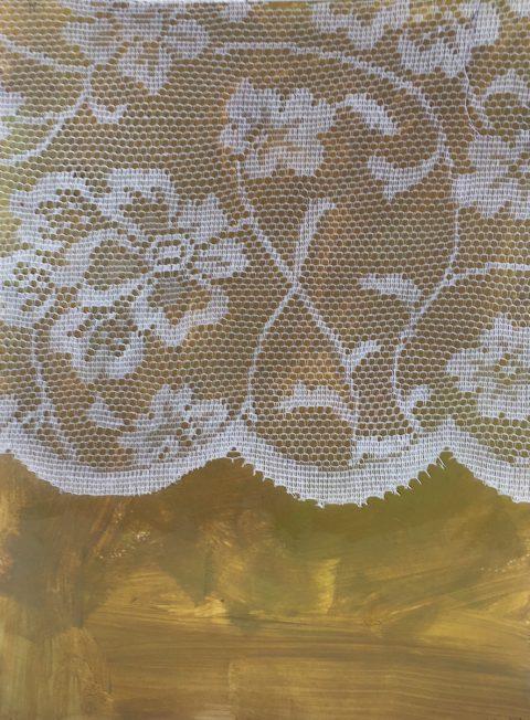 Textiles Unveiling, 20 x 26cm, Lace & acrylic on paper, 2017