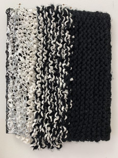 Textiles Black and white thinking, 20 x 30cm, Wool, Raffia & Wool on canvas, 2021